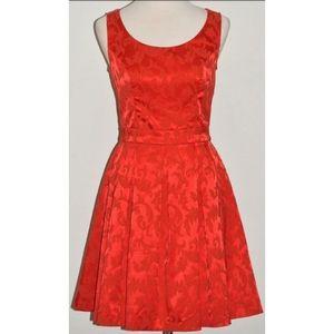REVIEW RED DAMASK PATTERN OPEN BACK PLEAT DRESS 10